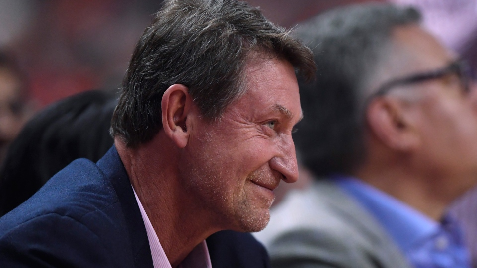 Hockey great Wayne Gretzky watches play during first half basketball action in Game 5 of the NBA Finals in Toronto on Monday, June 10, 2019. THE CANADIAN PRESS/Frank Gunn
