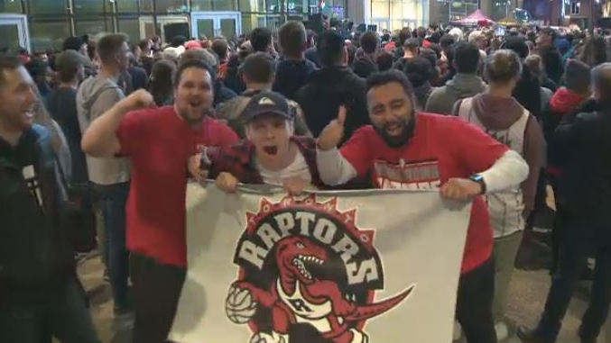 Thousands of fans gathered in Halifax on June 10, 2019, to cheer on the Toronto Raptors during Game 5 of the NBA finals.