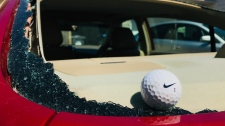 A golf ball in a smashed rear windshield