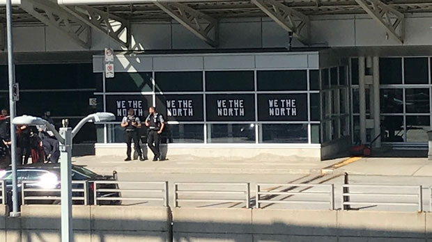 "Toronto Raptors were greeted with ""We The North"" posters at Pearson International Airport on June 11, 2019."