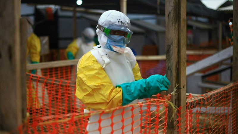 An Ebola health worker is shown at a treatment center in Beni, Eastern Congo on April 16, 2019. (AP Photo/Al-hadji Kudra Maliro)