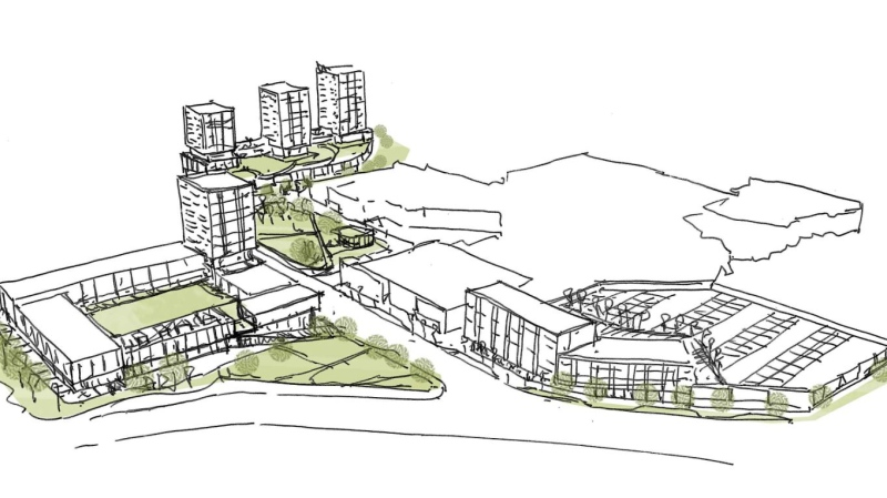 An artist's rendition shows new buildings with a mix of residential and commercial planned for the parking lots surrounding CF Masonville Place in London, Ont.