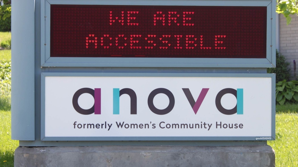 A sign for Anova, which combines Women's Community House and Sexual Assault Centre London, is seen in London, Ont. on Tuesday, June 11, 2019. (Gerry Dewan /CTV London)