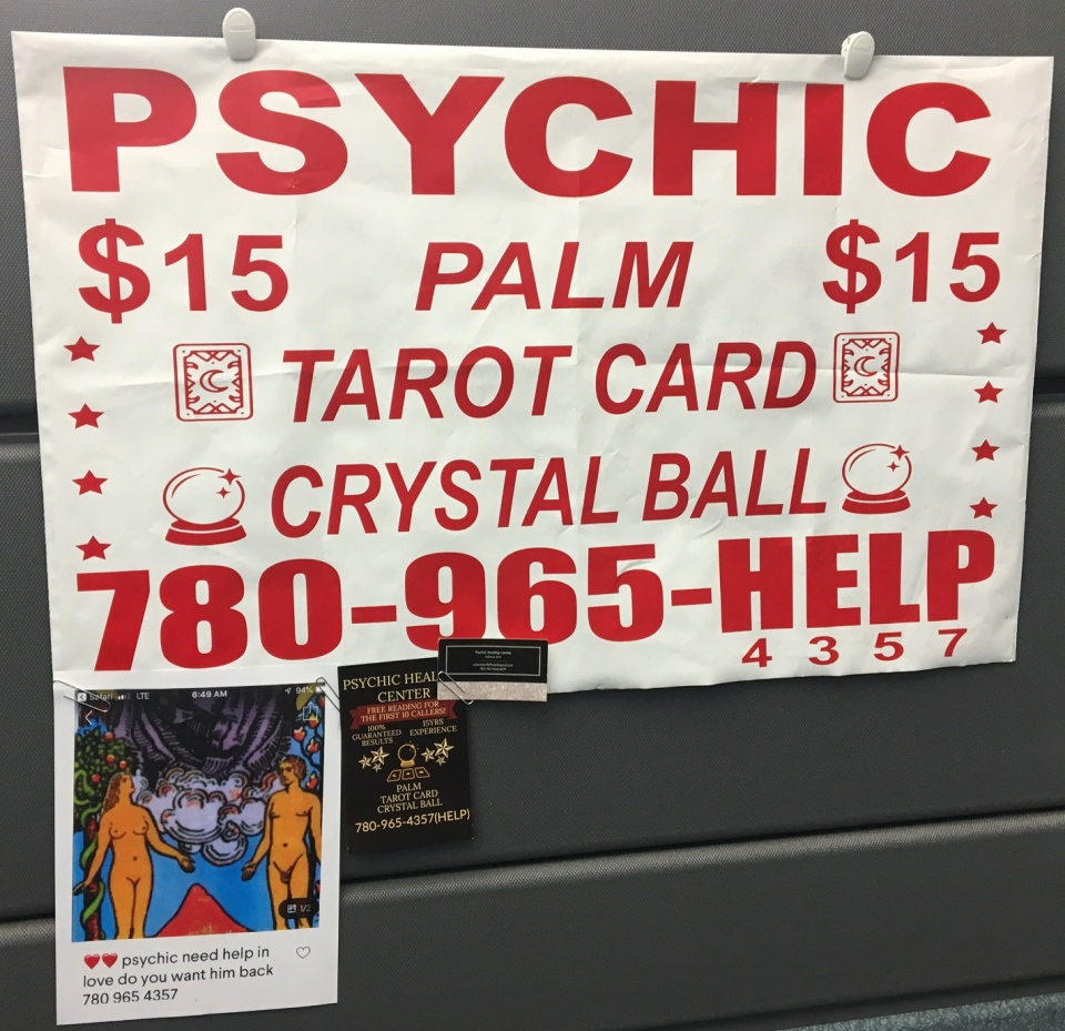 Edmonton police said this is one of the ads Cynthia Burt was using for her business, Sable Psychic Studio. (EPS)
