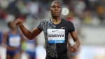 FILE - In this May 3, 2019, file photo, South Africa's Caster Semenya crosses the line to win gold in the women's 800-meter final during the Diamond League in Doha, Qatar. (AP Photo/Kamran Jebreili, File)
