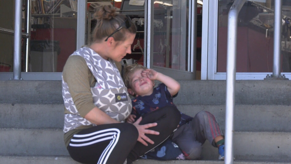 Customers outside the Value Village store were coughing, blowing their noses and rubbing their eyes Tuesday. (CTV Vancouver Island)