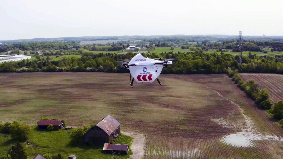 Drones are being tested in Ontario to see if they're able to deliver a defibrillator to a cardiac arrest patient more quickly than paramedics arriving in an ambulance.