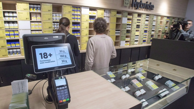 Cannabis products are seen on the shelves at a new Societe Quebecoise du Cannabis (SQDC) store during a media preview Tuesday, October 16, 2018 in Montreal. THE CANADIAN PRESS/Ryan Remiorz