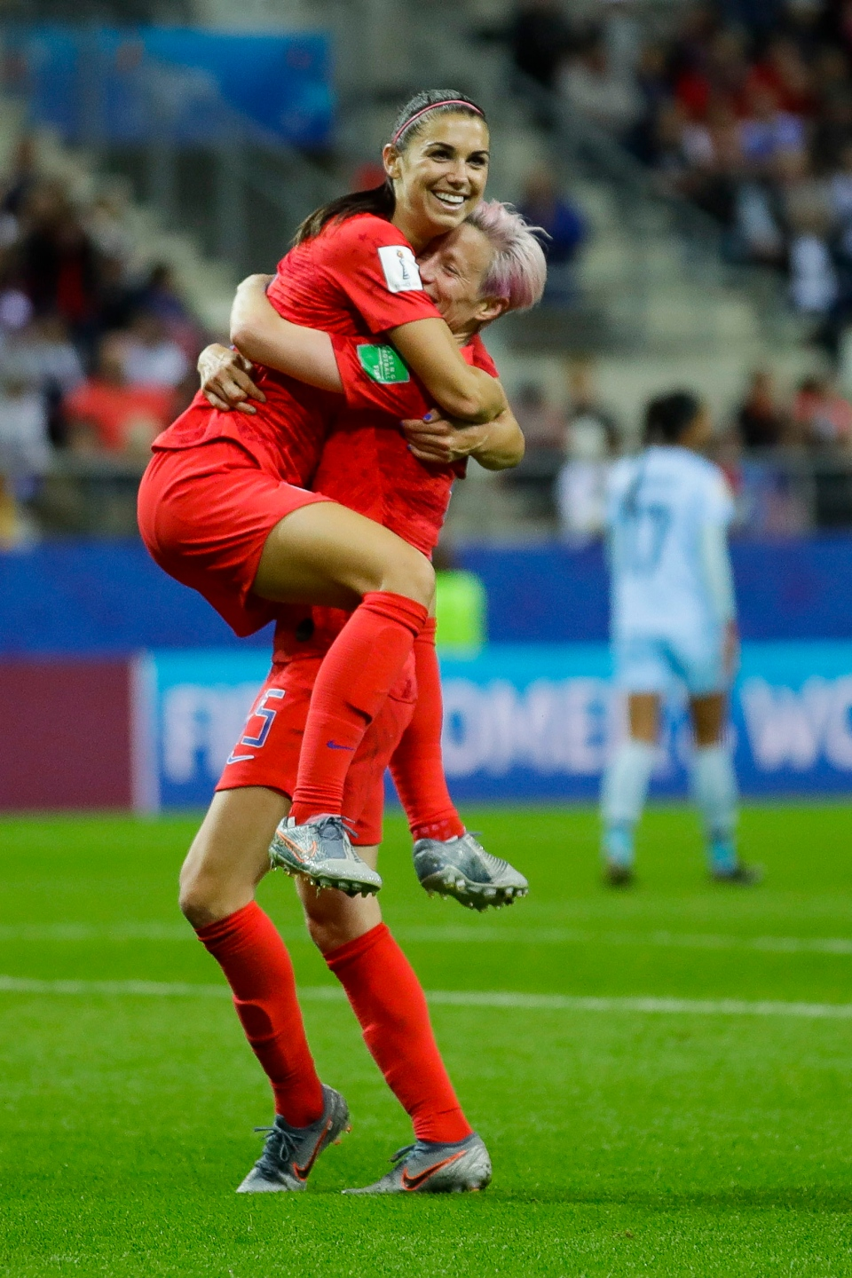 United States' Alex Morgan, left, celebrates with her teammate Megan Rapinoe after scoring her team's twelfth goal during the Women's World Cup Group F soccer match between United States and Thailand at the Stade Auguste-Delaune in Reims, France, Tuesday, June 11, 2019. (AP Photo/Alessandra Tarantino)