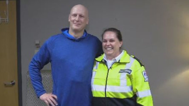 Runner Shawn Quigley meets with Amber Humes -- the paramedic who helped save him after he suffered a cardiac arrest at the Blue Nose Marathon.