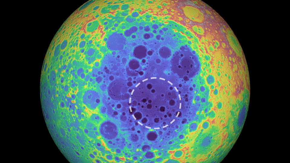 """A """"mysterious"""" gravitational mass has been discovered on the far side of the moon buried below a 4-billion-year-old crater. (NASA/Goddard Space Flight Center/University of Arizona)"""