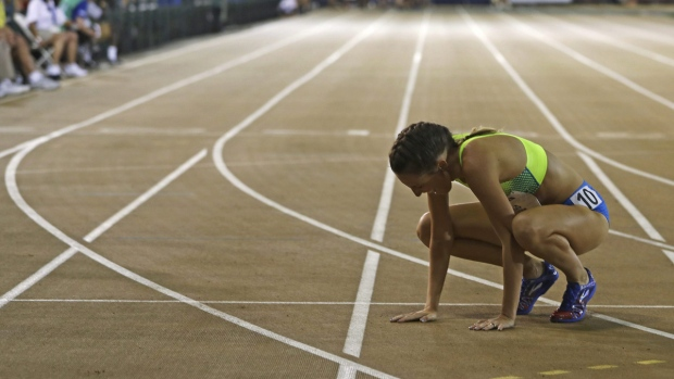 Gabriele Grunewald rests on the track