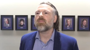 Jake Skinner, co-owner of Blackridge Strategy and a Thames Valley District School Board trustee, speaks in London, Ont. on Tuesday, June 11, 2019. (Daryl Newcombe / CTV London)