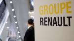 A sign of French automaker Renault Group shows the way for the Renault shareholders general meeting in Paris, France, Wednesday, June 12, 2019. (AP Photo/Francois Mori)