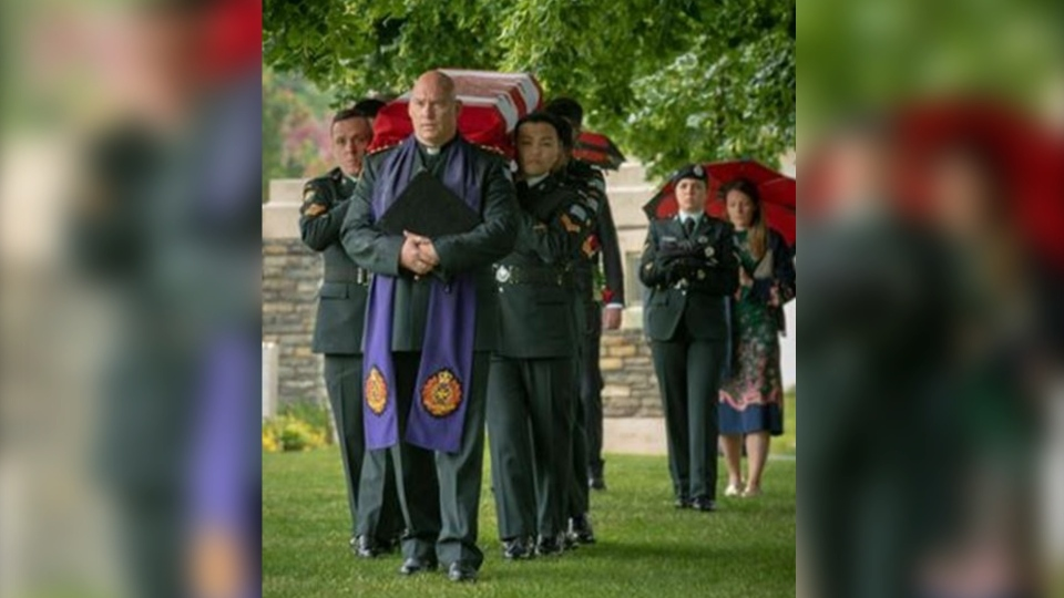 Alfred Newburn was buried with military honours Wednesday in a Commonwealth War Graves cemetery in Loos-En-Gohelle, France. (Department of National Defence)