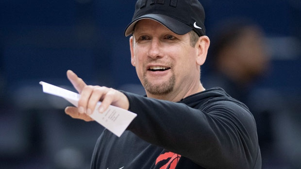Toronto Raptors Head Coach Nick Nurse gestures at practice for the NBA Finals in Oakland on Wednesday, June 12, 2019. (THE CANADIAN PRESS/Frank Gunn)
