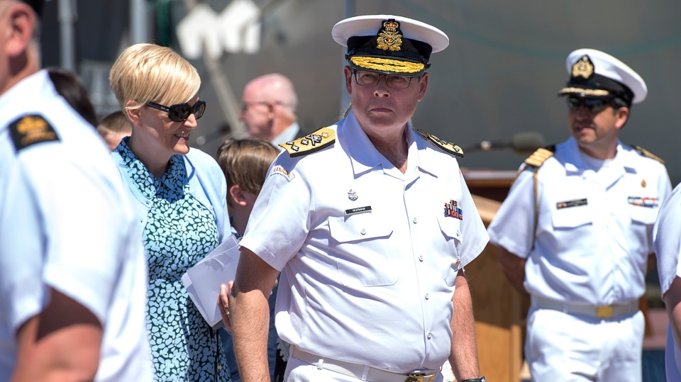 Vice-Admiral Mark Norman attends the Royal Canadian Navy Change of Command ceremony in Halifax on Wednesday, June 12, 2019.  (THE CANADIAN PRESS/Andrew Vaughan)