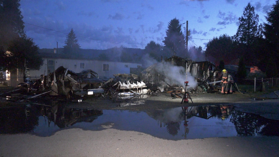 Firefighters are investigating a blaze that gutted two trailer homes in the Cultus Lake area overnight as arson.