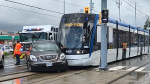 A car and an LRT vehicle collided Thursday afternoon. (Dave Pettitt / CTV Kitchener)