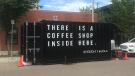 The Coffee Can, an Edmonton cafe built in a shipping container, is pictured on Thursday, June 13, 2019. (Graham Neil / CTV News Edmonton)