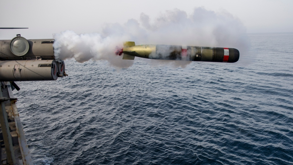 An MK-54 torpedo is launched from a U.S. Navy vessel. (U.S. Navy)