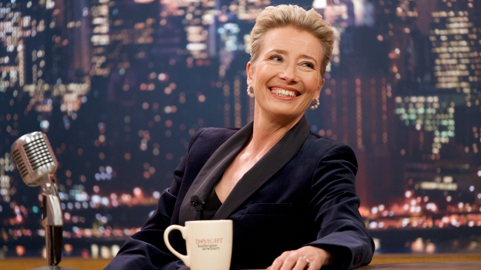 """This image released by Amazon Studios shows Emma Thompson in a scene from """"Late Night."""" (Emily Aragones/Amazon Studios via AP)"""