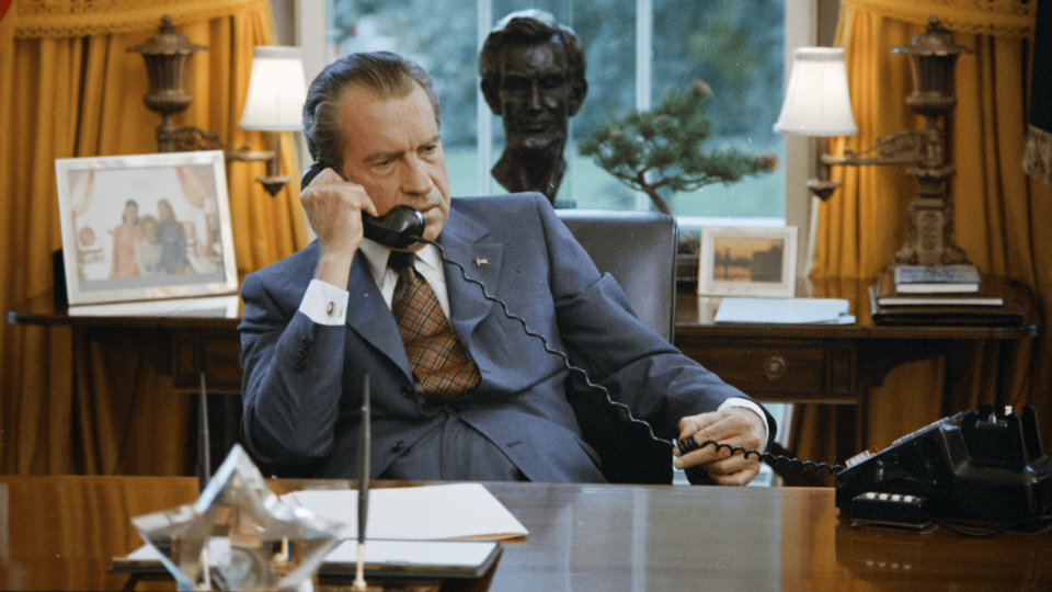 """Former U.S. President Richard Nixon is shown in this footage from the documentary film """"Watergate."""""""