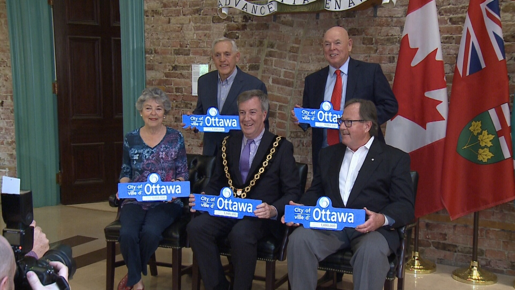 Four former mayors join current mayor Jim Watson.