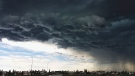 Thunderstorm clouds rolling into Calgary on Thursday afternoon near Nose Hill Park (@ChelseaBroda)
