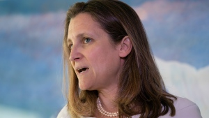Canada's Foreign Affairs Minister Chrystia Freeland concludes a two-day visit to Washington with a news conference at the Embassy of Canada, Thursday, June 13, 2019.  (AP Photo/J. Scott Applewhite)