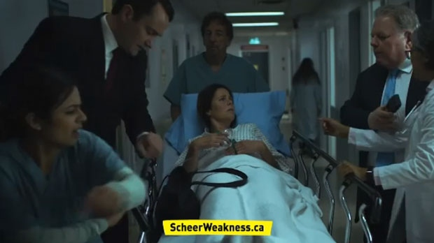 An advertisement set to air during Game 6 of the NBA Finals features a woman in a stretcher being stopped before she could receive care. (Engage Canada)
