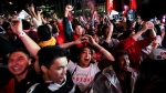 Fan reacts in Jurassic Park as the Toronto Raptors defeat the Golden State Warriors during Game 6 NBA Finals to win the NBA Championship, in Toronto on Thursday, June 13, 2019. (THE CANADIAN PRESS/Nathan Denette)