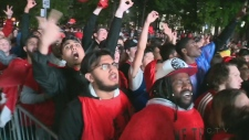 A crowd of young, multi-ethnic Montrealers celebrated the Raptors win from Jurassic Peel