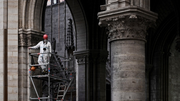 Priests wear hard hats for first Notre Dame mass since devastating fire