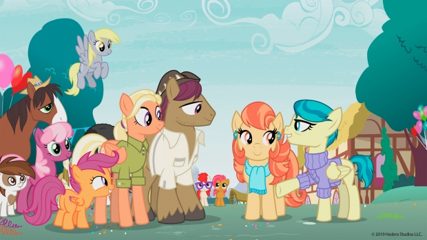 """This photo provided by Hasbro Studios LLC/Discovery Family shows a scene from the Discovery Family Channel cartoon series """" My Little Pony: Friendship is Magic"""" coinciding with Pride Month. (Hasbro Studios LLC / Discovery Family via AP)"""