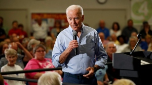 Democratic presidential candidate former Vice President Joe Biden speaks to local residents at Clinton Community College, Wednesday, June 12, 2019, in Clinton, Iowa. (AP Photo/Charlie Neibergall)
