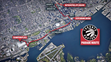 The route for the Toronto Raptors victory parade on Monday, June 17.