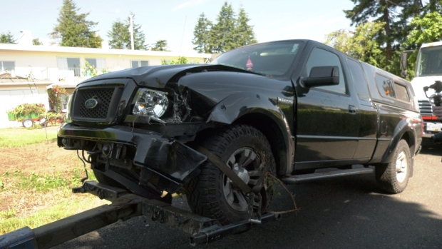 Truck slams into house in Campbell River