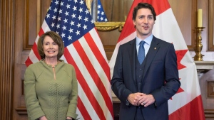 In this file photo, Prime Minister Justin Trudeau meets with Democratic party leader Nancy Pelosi, then serving as the Democratic minority leader, on Capitol Hill Thursday, March 10, 2016 in Washington. THE CANADIAN PRESS/Paul Chiasson