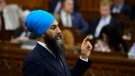 NDP Leader Jagmeet Singh stands during question period in the House of Commons on Parliament Hill in Ottawa on Wednesday, June 12, 2019. (THE CANADIAN PRESS / Sean Kilpatrick)