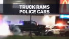 Caught on cam: Alleged truck thief rams RCMP SUVs