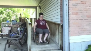 Sarah Lashbrook of Sudbury is frustrated after wheelchair accessibility issues with two local restaurants. Molly Frommer reports.