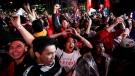 Fan reacts in Jurassic Park as the Toronto Raptors defeat the Golden State Warriors during Game 6 NBA Finals to win the NBA Championship, in Toronto on Thursday, June 13, 2019. THE CANADIAN PRESS/Nathan Denette