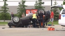 A three-vehicle crash in St. Albert Friday sent to people to hospital.