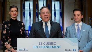 Quebec Premier Francois Legault speaks during a end of session wrap up news conference, Friday, June 14, 2019 at his office in Quebec City. THE CANADIAN PRESS/Jacques Boissinot