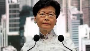 Hong Kong's Chief Executive Carrie Lam speaks at a press conference, Saturday, June 15, 2019, in Hong Kong. (AP Photo/Kin Cheung)