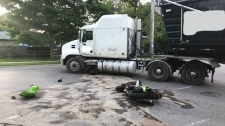 A motorcyclist suffered serious injuries following a collision with a tractor trailer in Dunnville. (Courtesy: OPP)