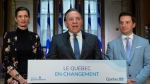Quebec Premier Francois Legault speaks during a end of session wrap up news conference, Friday, June 14, 2019 at his office in Quebec City. Legault is flanked by Quebec Deputy premier and Public Security Minister Genevieve Guilbault, left, and government House Leader and Minister of Immigration, Diversity and Inclusiveness Simon Jolin-Barrette. (THE CANADIAN PRESS/Jacques Boissinot)