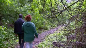 CTV reporter Julian McKenzie and Lisa Mintz walk through the NDG escarpment north of Highway 20