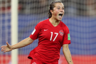 Jessie Fleming of London celebrates scoring her first World Cup goal on Saturday, June 15, 2019.